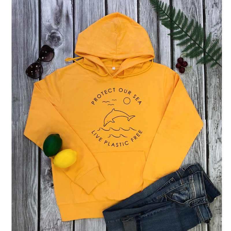 Protect Our Sea Live Plastic Free Eco Hoodies Fashion Women Earth Day Pullovers Unisex Long Sleeve Graphic Organic Sweatshirts