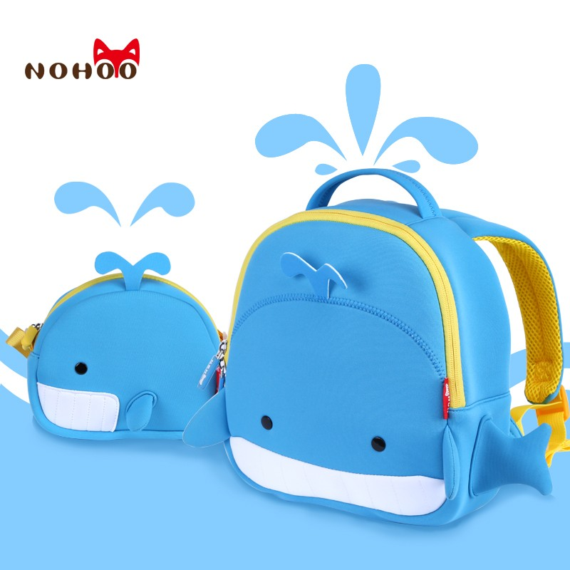 School Backpack NOHOO 3D Cartoon Neoprene Whale School Bags Waterproof Travel Backpack For Boys Girls Mini Kids Bags Book Bag