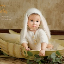 신생아 사진 소품, 아기 사진 소품을위한 퍼지 토끼 장난 꾸러기