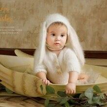 Neonato fotografia di scena, Fuzzy bunny pagliaccetto per il bambino fotografia puntelli
