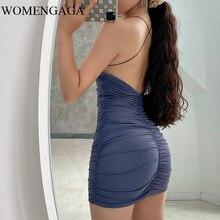 Женское мини-платье с открытой спиной WOMENGAGA, плиссированное облегающее платье-футляр на тонких лямках, модель 55DG в европейском стиле
