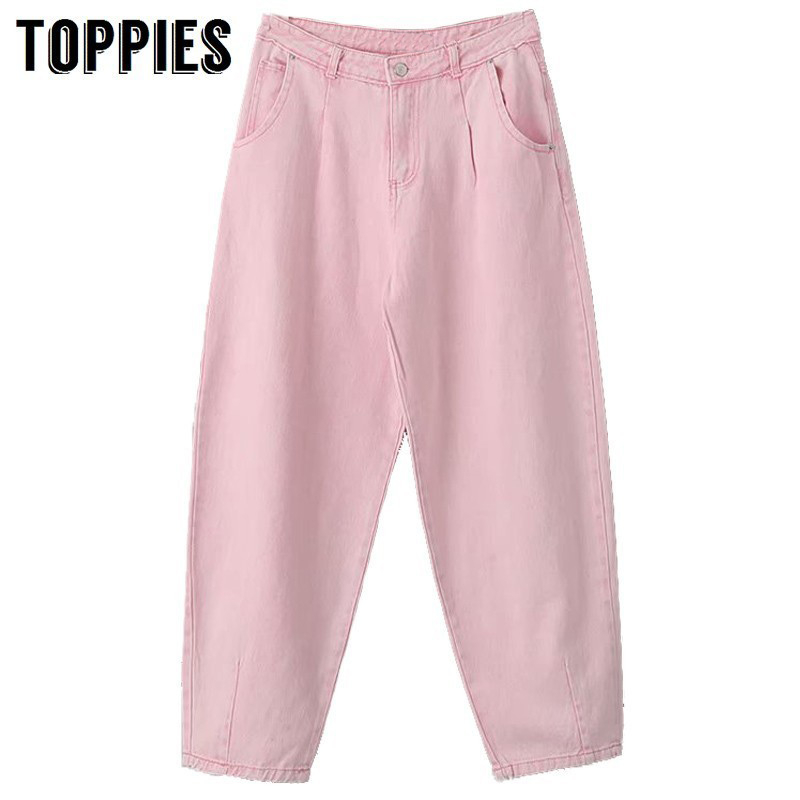 Toppies High Waist Pink Harem Pants Loose Trousers 2020 Summer Women Leisure Pants Korean Style Streetwear