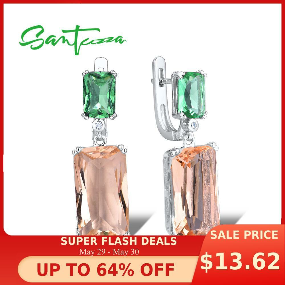 SANTUZZA Silver Earrings For Women 925 Sterling Silver Shiny Green Champagne Crystal Dangling Earrings Fashion Jewelry