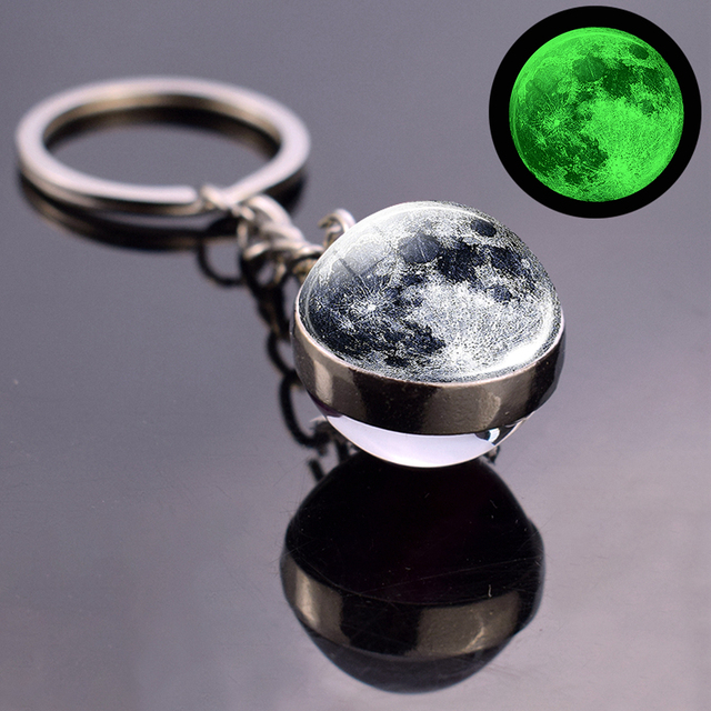 Luminous Moon Glass Ball Key Chain Earth Sun Jupiter Planet Keychain Galaxy Solar System Jewelry Glow The Dark Pendant Gift