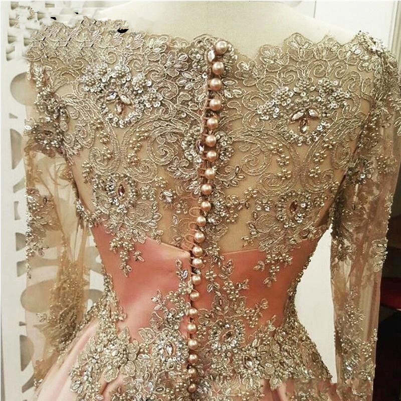 Купить с кэшбэком Muslim Evening Dresses 2020 wth Long Sleeves Crystals Beaded Arabia Women Formal Dresses Prom Gowns