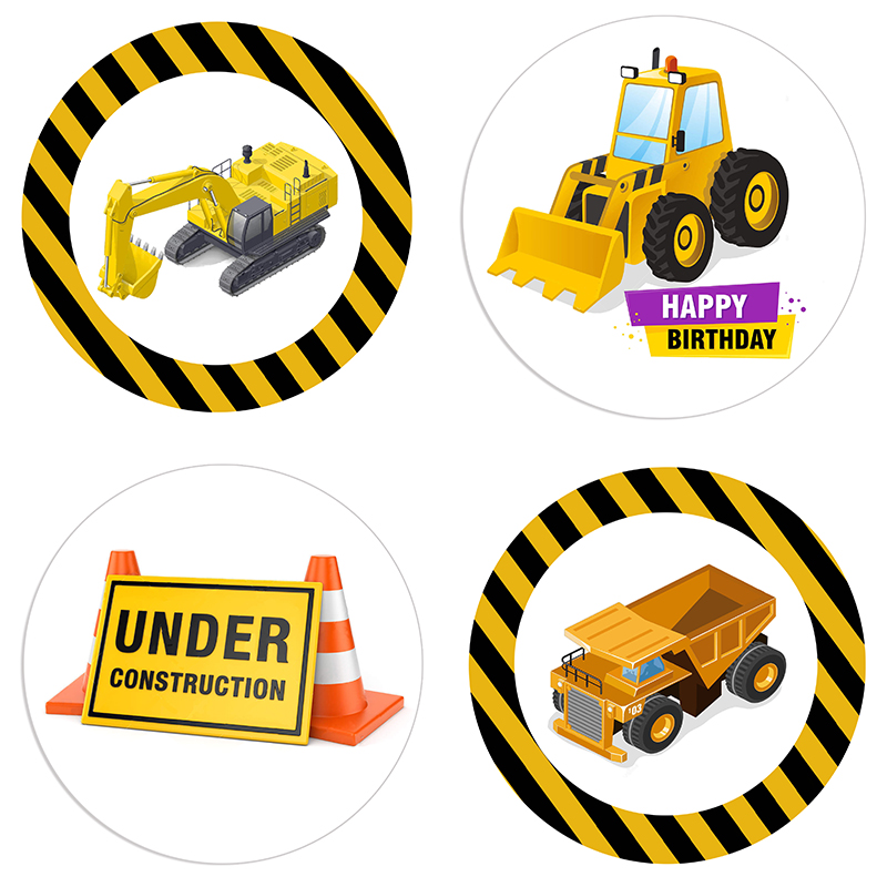 24/48pcs Construction Trucks Party Sticker Excavator Car Gift Box Invitation Labels Boys Birthday Party DIY Decorations Stickers