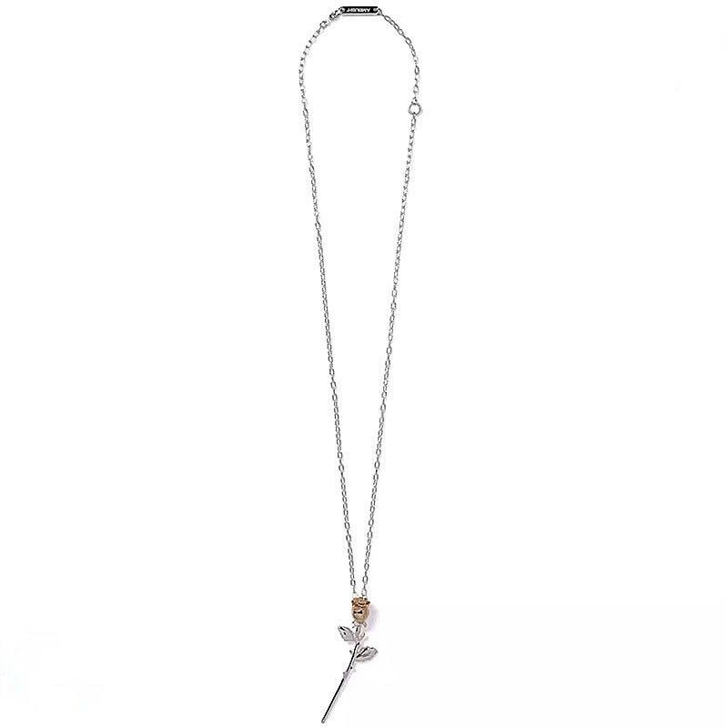 INS embuscade Rose collier pendentif Rosette pendentif chandail chaîne Simple charme Hip Hop 925 argent bijoux pour Couples cadeaux