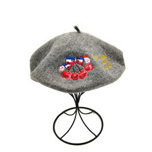 Autumn and Winter New Fashion Retro Cherry Letter Embroidered Bud Cap Korean Chao British Beret Artist women hats