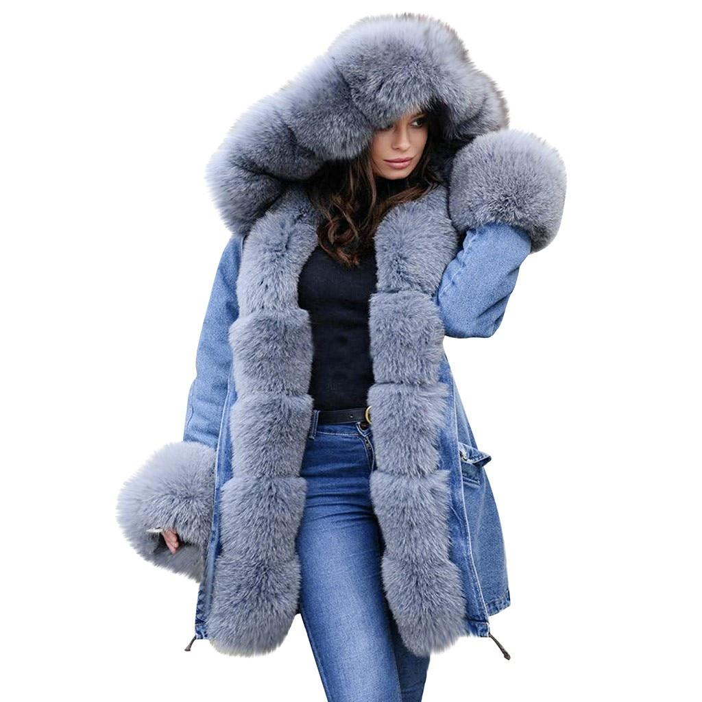 Faux Fox Fur Coat Women's Winter Jacket Thick Warm Parka Fur Collar Slim Fashion Denim Pocket 2020 New Mid-length  big size TOP