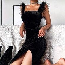 Вестерн стиль мода вечеринка платье темперамент элегантный сексуальный глубокий однотонный цвет высокий талия разрез вилка перо украшение