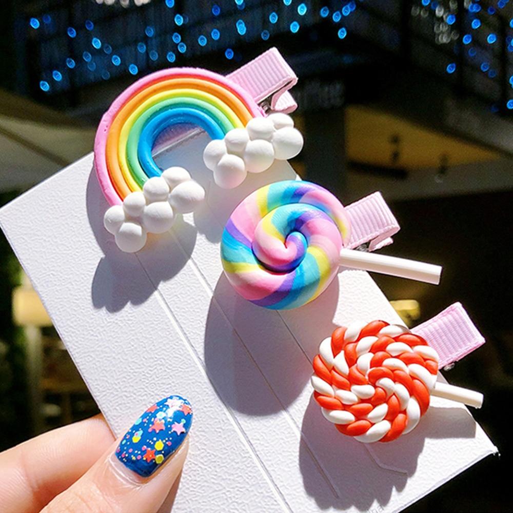 New Rainbow Lollipop Cute Children Hairpin Hair Clips Accessories For Girls Kids Hair Ornament Barrettes Hairclip Headdress