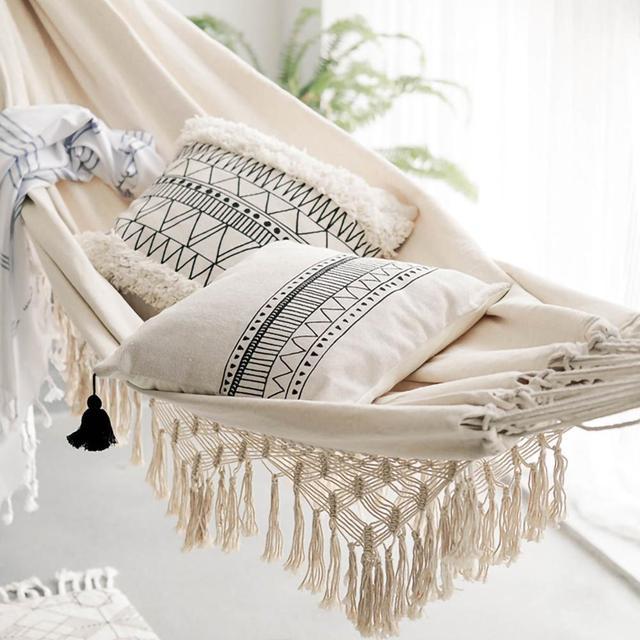 ins Style 2 Person Hammock Large Brazilian Macrame Fringe Double Deluxe Hammock Swing Net Chair Outdoor Indoor Hanging Deco 5