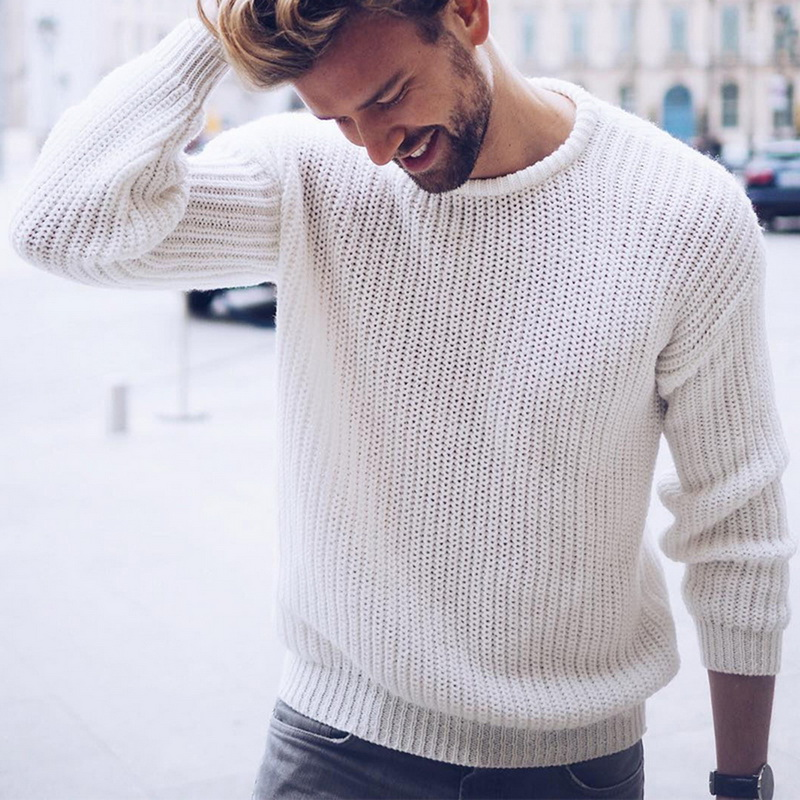 DIHOPE New Casual Solid O Neck Sweater Men Pullover Sweaters Casual Jumper For Male Knitted Korean Style Clothes Plus Size