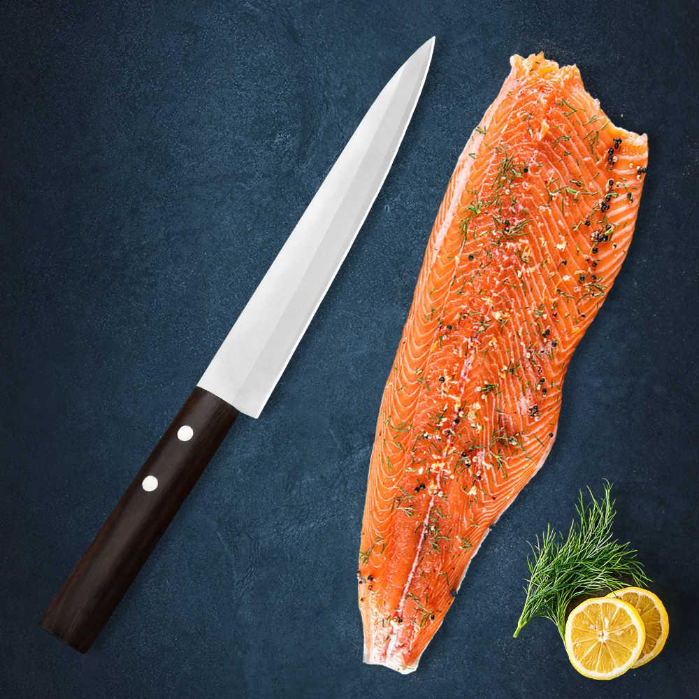 Damasco 8 Pollici Sashimi Coltello in Acciaio Inox Giapponese Coltello per Affettare Coltello per Pesce Frutta Verdura Nero Maniglia di Legno con Le Unghie