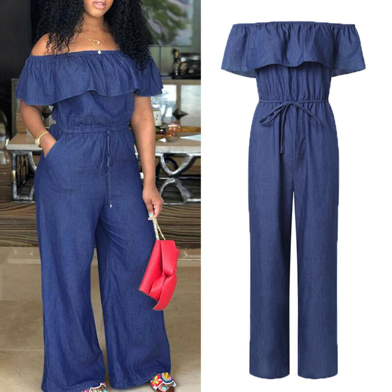 Plus Size Women Jumpsuits Rompers Off Shoulder Denim Jeans Look Long Elastic High Waist Playsuits Overalls With Belt Plus Size