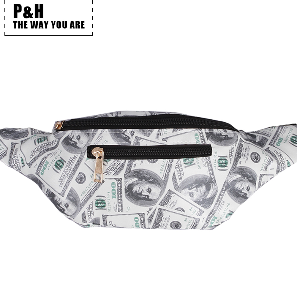 Pat&hap Funny Dollar Pattern Leather Fanny Pack Fashion Women Waist Bag Men Belt Bag Designer Fannie Packs Characters Bum Bags