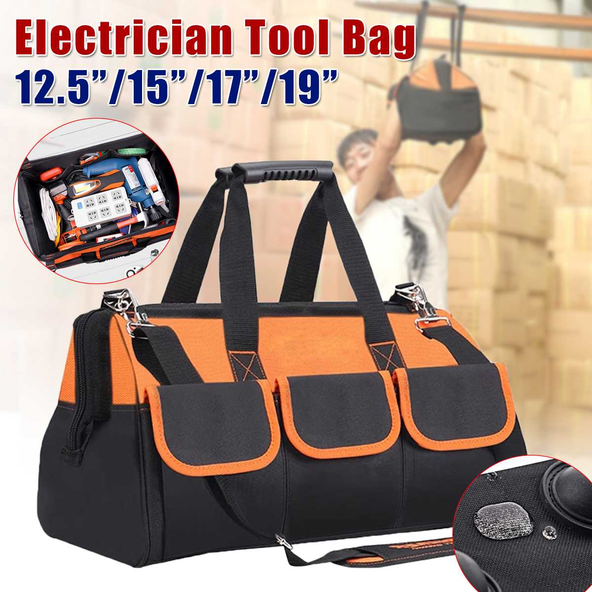 12.5/15/17/19 Inch Multifunction Tool Bag Oxford Cloth Bag Top Wide Mouth Electrician Special Tool Kit Bag Large Capacity