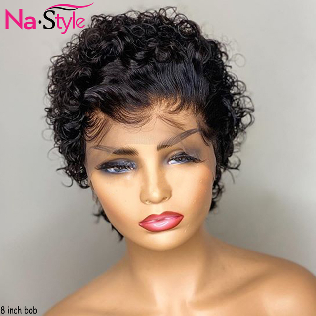 Peluca de corte Pixie para mujer, peluca de Pixie, cabello humano Pre arrancado, nudos decolorados, onda corta de agua, peluca de encaje 13x4, 130% Remy