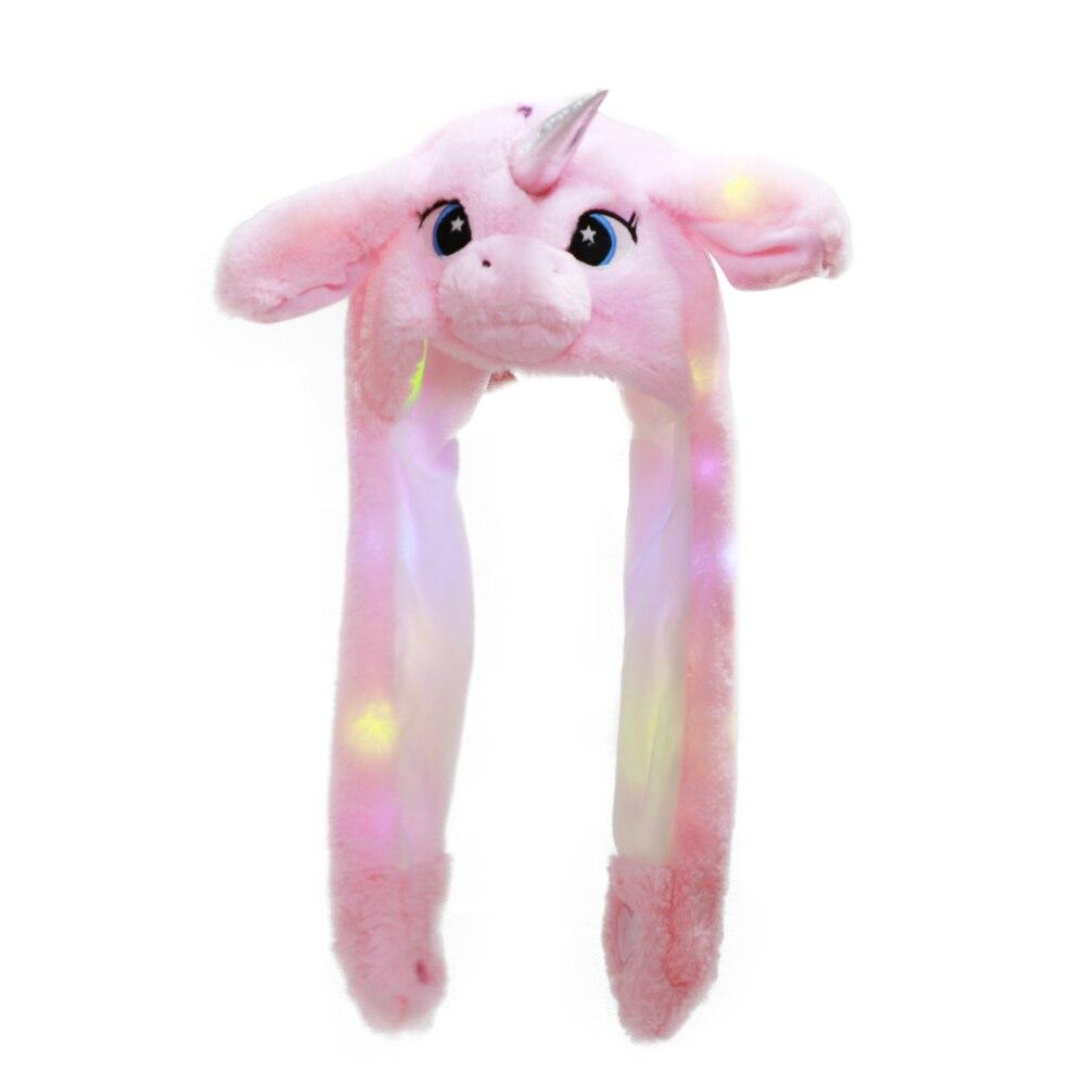 HOT Cartoon Hats Cute Rabbit / Panda Hat With Light Funny Air Float Filling Ear Moving Cap Cartoon Plush Stuffed Toys Gifts