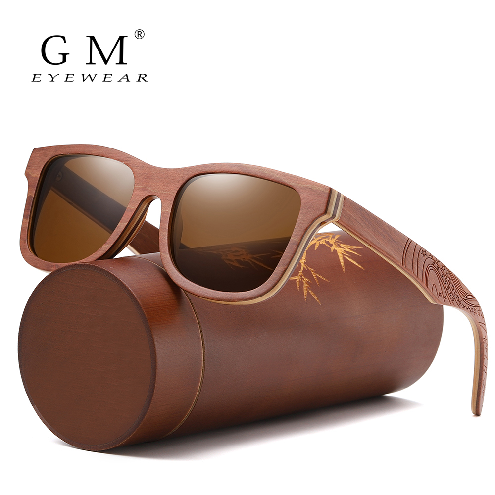 GM Retro Brown Skateboard Wood Sunglasses Men Bamboo Sunglass Women Brand Mirror UV400 Square Sun Glasses Male Shades Glasses