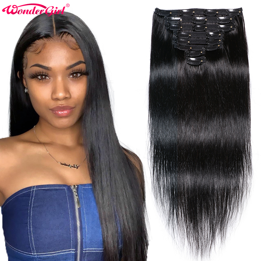120gram Clip In Human Hair Extensions 10-28inch Remy Brazilian Straight Hair Bundles 8Pcs/Set #1B #2 #4 Full Head Wonder Girl