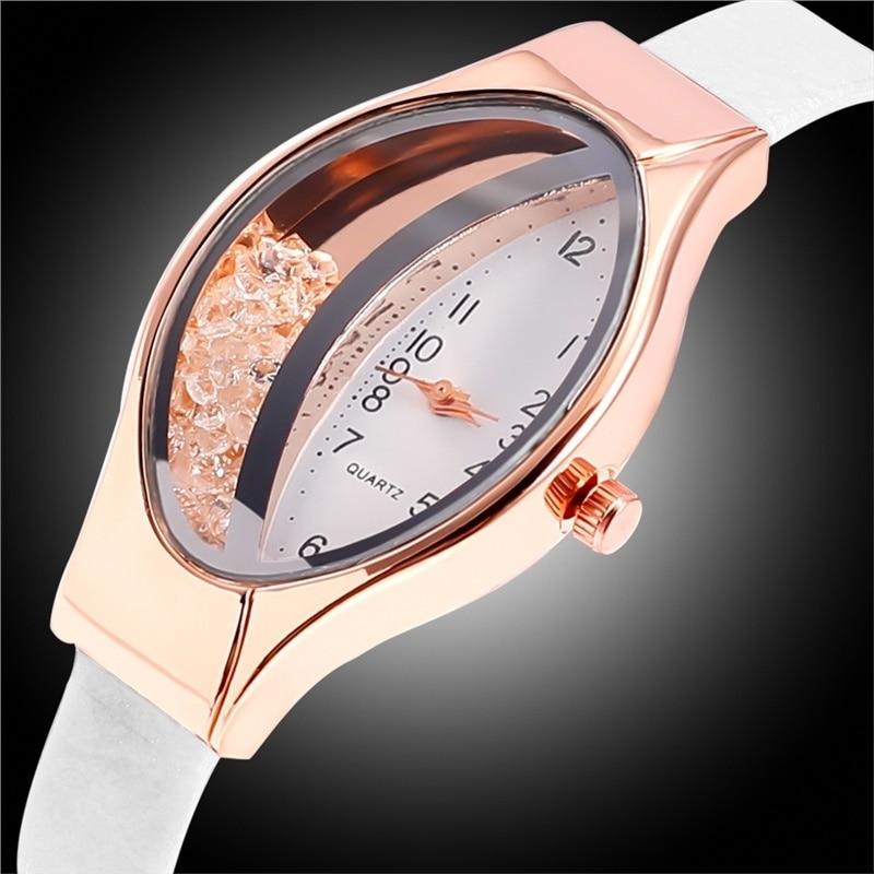 Casual Women Watches Oval Dial Wrist Watch Leather Rhinestone Designer Ladies Watch Clock Dress Gfit Montre Femme Reloj Mujer