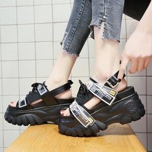 Image 2 - Сандалии женские на массивной платформе, босоножки на танкетке 8 см, обувь для стриптиза, высокий каблук, лето