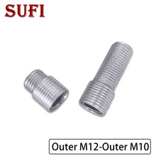 Iron-Threaded-Tube Screw Teeth-Adapter Hollow-Tube M10 M12 Fine To External 2pcs Full-Tooth