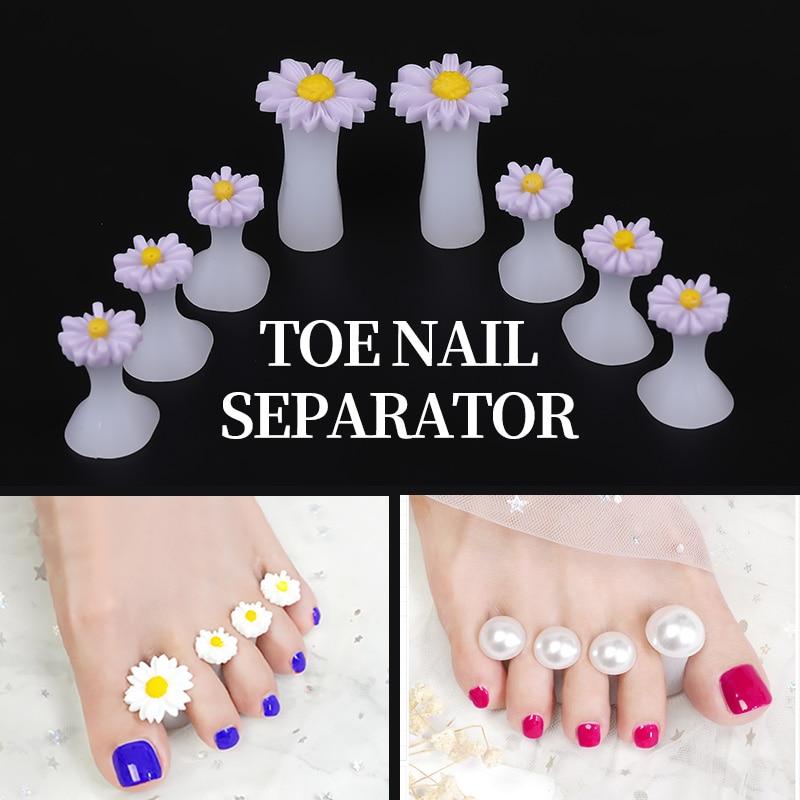 PinPai 8pcs Nail Art Toe Separator Flower Heart Pearl Diamond Silicone Foot Toes Separators Silica Gel Finger Toe Spreader