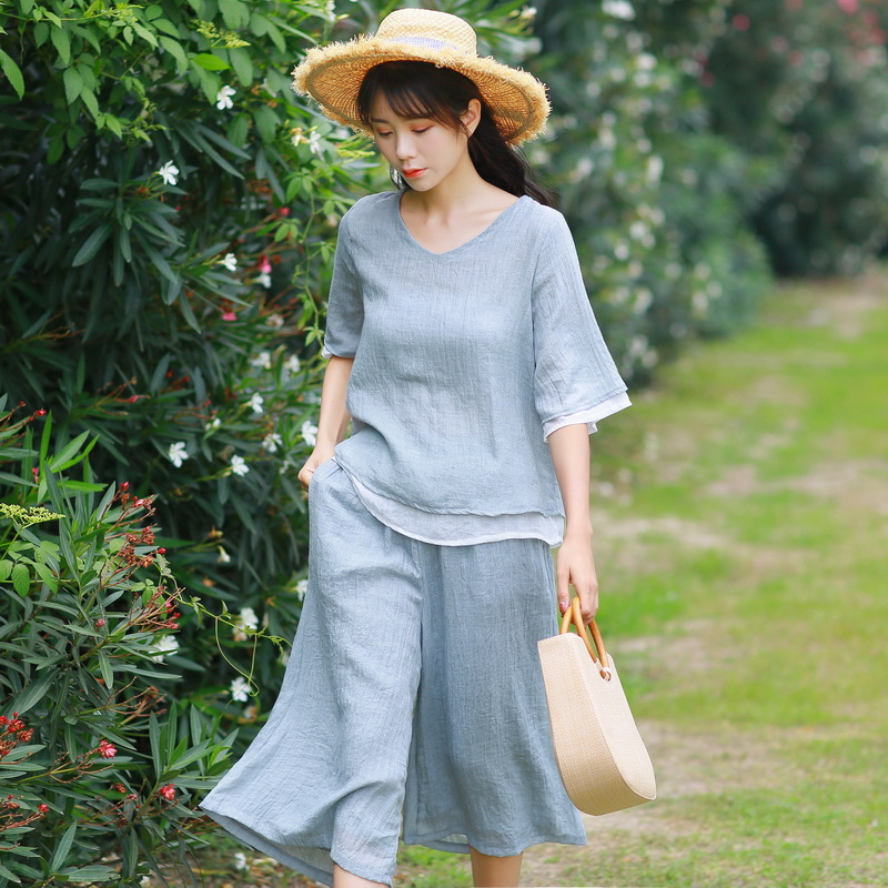 2019 Summer New Style Artistic Double Layer Cotton Linen Tulle V-neck Mixed Colors Tops Loose-Fit Capri Loose Pants WOMEN'S Suit