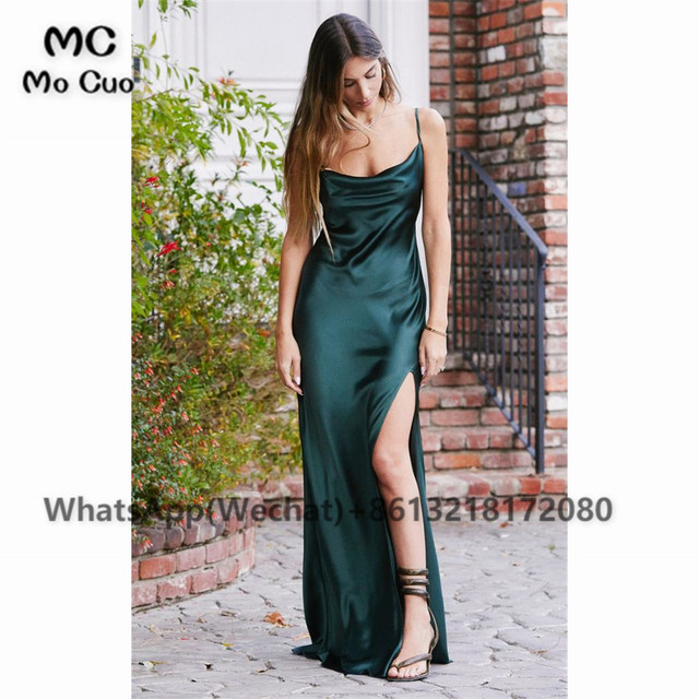 2021 Sheath Sexy Prom Evening Dresses Long Spaghetti Straps V-Neck Robe De Soiree With Side Slit Party Prom Dresses 2