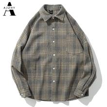 Ponadgabarytowe Vintage flanelowe koszule męskie typu Streetwear z długim rękawem Casual Harajuku modna koszula mężczyźni kobiety gruba ciepła wełna koszula na co dzień tanie tanio AJZHY CN (pochodzenie) COTTON Poliester Włókno poliestrowe Pełna Skręcić w dół kołnierz Pojedyncze piersi REGULAR