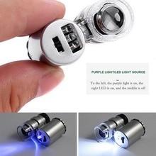 Mini 60x Microscope Magnifying with LED UV Light Pocket Jewelry Magnifier Jeweler Tool Jeweler Loupe Light Licht#3
