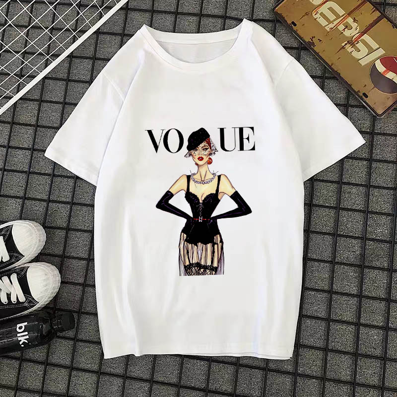 Summer New 2020 Fashion T shirt Women VOGUE letter print Harajuku Tshirt O-neck Short Sleeve T-shirt White Tops Female Clothing