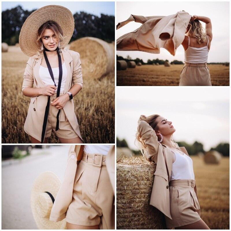 Simplee Elegant two-pieces women short suit Casual streetwear suits female blazer sets Chic 19 office ladies women blazer suit 14