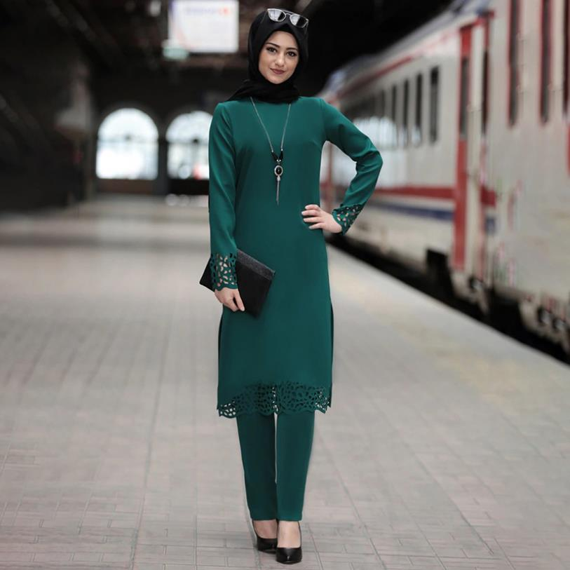 Elegant Two Pieces Muslim Worship Service Robes Suits Split Deisgn Abaya Dress Robe Tunic Jubah Dubai Ramadan Robes Sets F1547