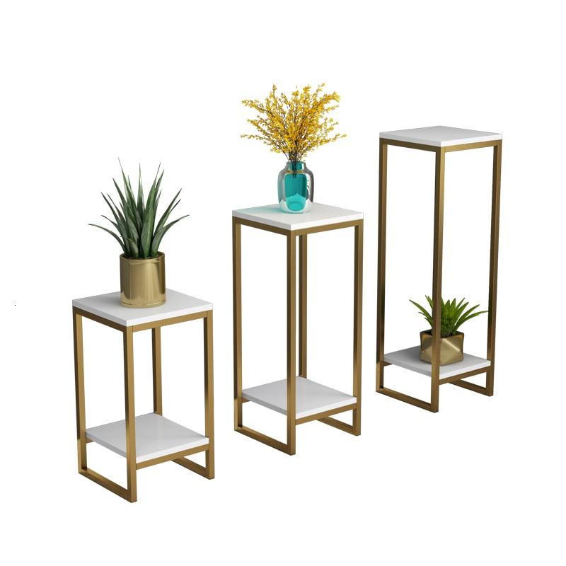 Iron Art Flower Rack Golden Simplicity A Living Room Indoor Bonsai Decorate Frame Multi-storey Shelf Soft