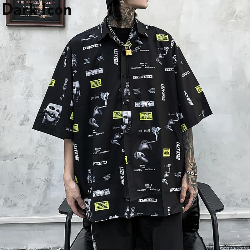 Dark Icon Full Printed Retro Shirt Men 2020 Summer Street Men's Shirts Short Sleeved Shirts for Men Black