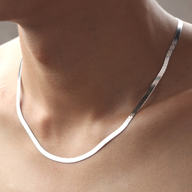 925 Silver Necklace 4MM Snake Chain Men & Women Couple Sterling Silver Jewelry Blade Chain