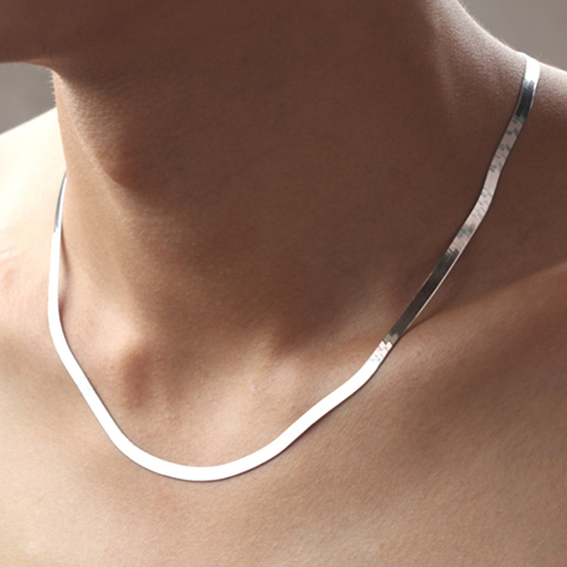 925 gümüş kolye 4MM yılan zincir erkekler ve kadınlar çift gümüş takı bıçak zinciri