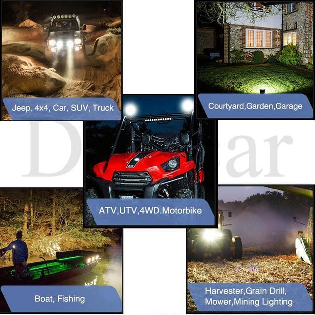 LED Work Light Waterproof IP67 Driving Lamp for Offroad Boat Tractor Truck 4x4 SUV Truck 4x4 SUV ATV Spot Light Fog Light