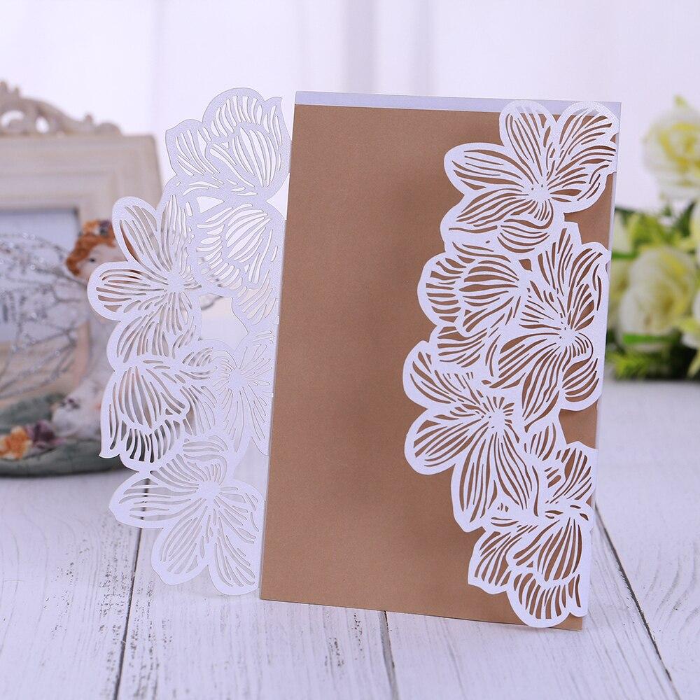 110 pièces dentelle Laser découpé mariage Invitations cartes élégant Floral papier invite pour le mariage anniversaires bébé douche inviter des amis