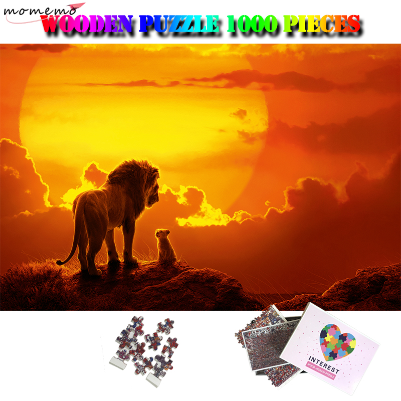 MOMEMO Mufasa Simba Puzzles Wooden Jigsaw Puzzles for Adult 1000 Pieces Animal Movies Puzzle Toy Lion King Puzzle Games for Kids