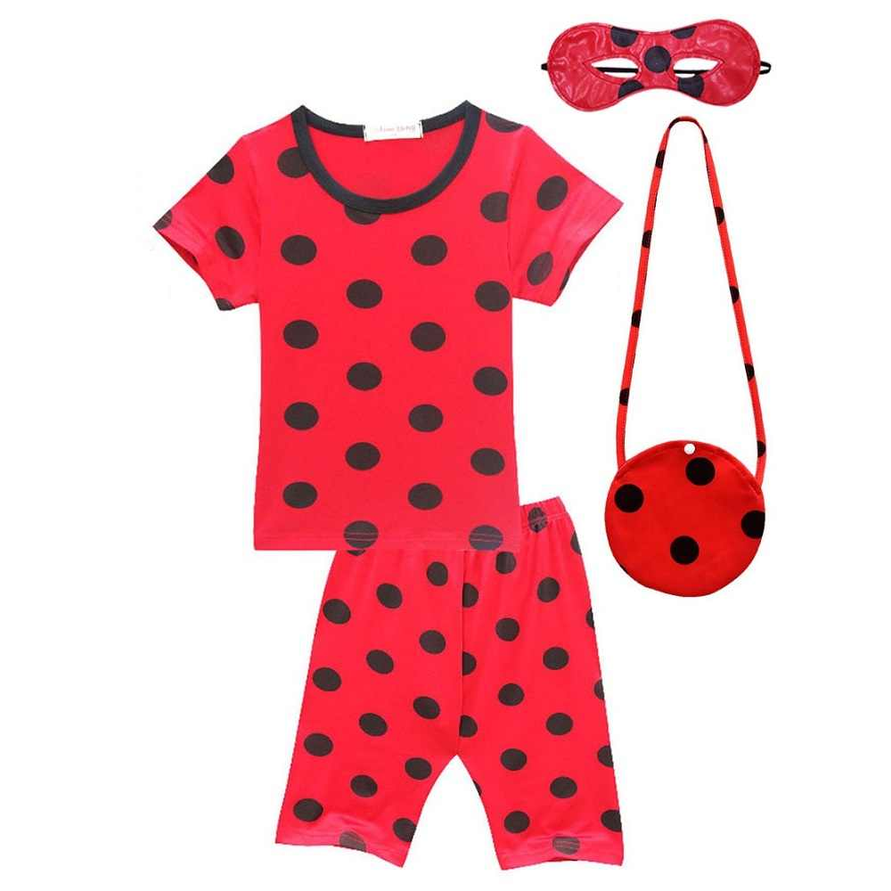 Ladybug Girls Clothing Sets Teenager Tshirt Summer Clothes Children Fall Outfits Toddler Halloween Cosplay Party Kids Costumes