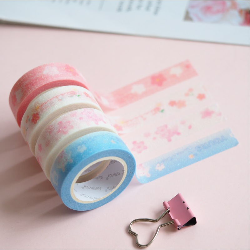 1.5cm Cherry Blossom Onion Bullet Journal Washi Tape Adhesive Tape DIY Scrapbooking Sticker Label Masking