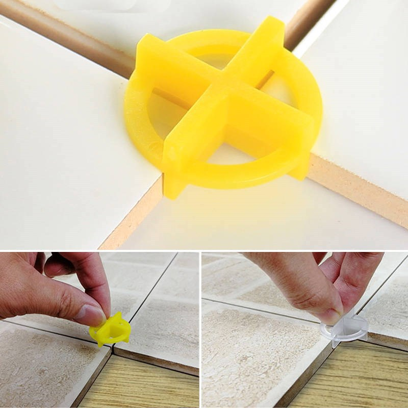 50pcs 2 In 1 Removable Tile Leveling System 2mm Slit Locator Floor Laying Tool Tile Alignment Leveler Clips Construction Tool