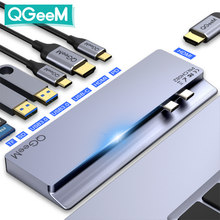 QGeeM USB C Hub Dock for Macbook Pro SD TF Card Readers Dual HDMI PD Multi USB Hub Type C Adapter Splitter Type-C Hub for Laptop
