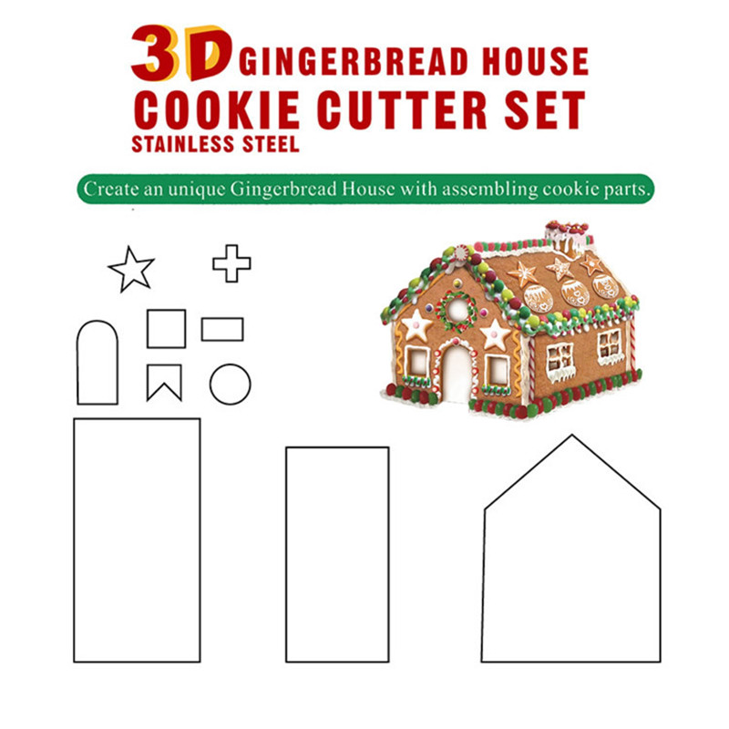 8//10//18pcs Fondant Biscuit Mold Gingerbread House Cookie Baking Tool