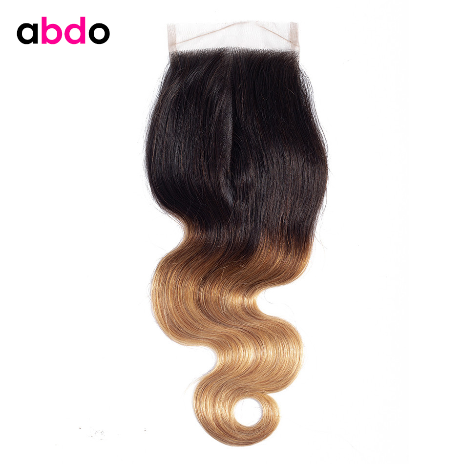 Ombre 1b 4 27 Brazilian Hair Body Wave Closure Pre-Colored Lace Closure 4*4 Remy Free/Middle/Three Part Human Hair Closure Abdo