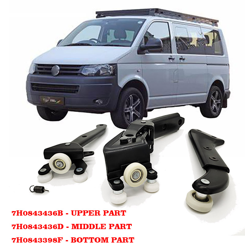 OEM 7H0843436B 7H0843398H 7H0843336C FOR <font><b>VW</b></font> <font><b>T5</b></font> TRANSPORTER RIGHT SLIDING DOOR ROLLER ARM GUIDE MOUNT SET image